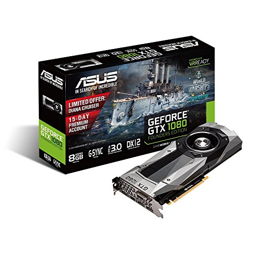 "Asus Nvidia GeForce GTX 1080 ""Founders Edition"" 8GB GDDR5X VR-Ready/G-Sync/PascalTM architecture PCI-Express Graphics Card"